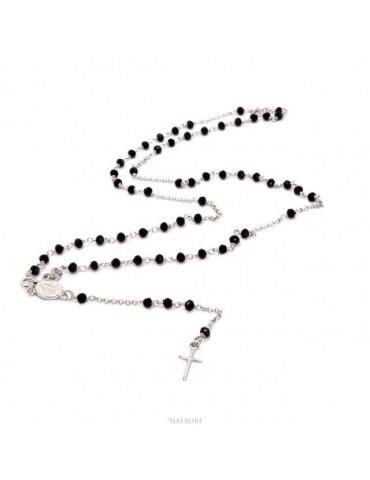 NALBORI Collana Rosario Argento 925 Con cristallo nero 3,5 mm croce madonna miracolosa 58 cm