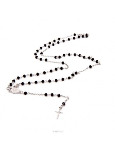 NALBORI Rosary Necklace 925 Silver With 3.5 mm Black Crystal Miraculous Madonna Cross 58 cm