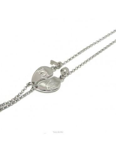 NALBORI Bracciale doppio LUI e LEI scritta LOVE lucchetto chiave Argento 925 cuore spezzato
