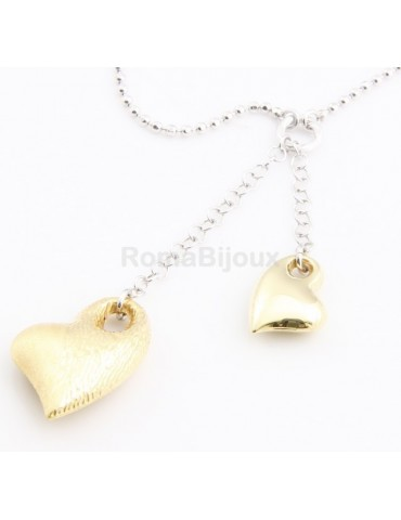 ARGENTO 925: Girocollo Beads Faux Saliscendi con Ciondoli Cuori oro giallo