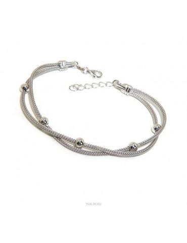 double ball bracelet 5mm fox tail 925 silver cord for woman 16.5 / 20.5 cm NALBORI Italy