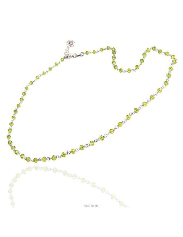 NALBORI codice N1208  collana argento 925 per uomo o donna con cristallo verde lime 3,5 mm marsigliese fatta a mano 45+5