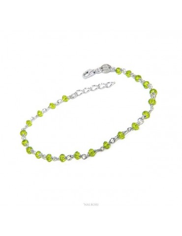 NALBORI Bracelet man woman Silver 925 With lime green crystal 3,5mm Marseillaise handmade 16,5-19,5cm