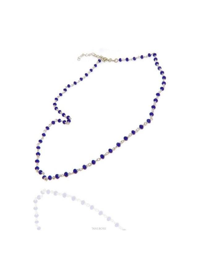 NALBORI marsigliesi collana Argento 925 con cristallo blue blu bluette 3,5 mm fatta a mano 45+5 N0680 §NALBORI_0680