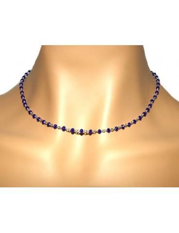 NALBORI codice N0680 marsigliesi collana Argento 925 con cristallo blue blu bluette 3,5 mm fatta a mano 45+5