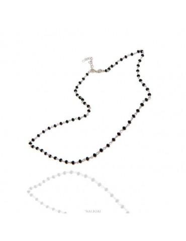Collana uomo donna Argento 925 Con cristallo nero 3,5 mm linea marsigliesi di NALBORI fatta a mano 50+5 N1212
