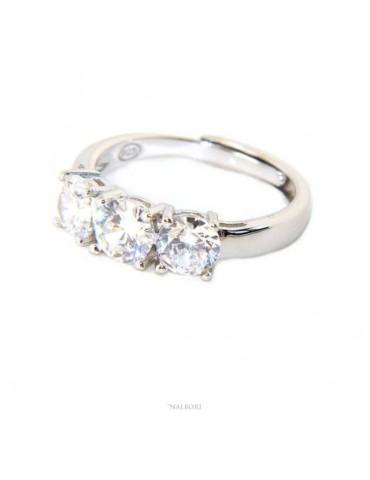 NALBORI anello trilogy donna zirconi bianchi 5 mm regolabile