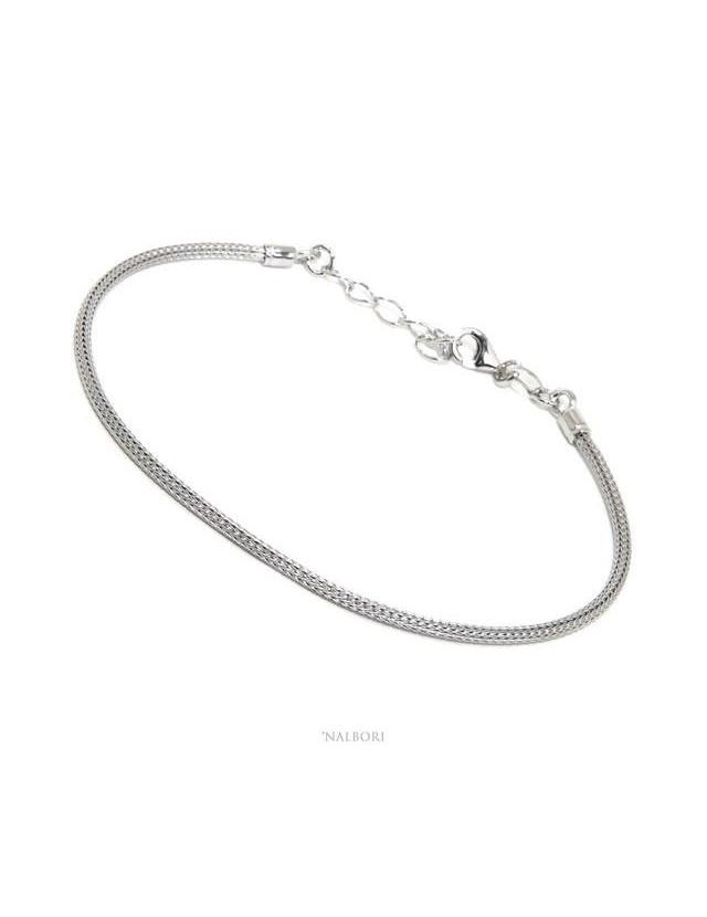 NALBORI bracciale fox tail cavetto in argento 925 semplice lineare polso 17 - 20 cm
