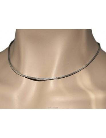 NALBORI collana fox tail cavetto argento 925 semplice lineare 43+5 cm uomo donna