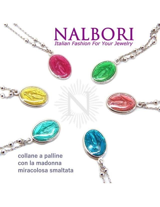 Collana Rosario uomo donna Argento 925 con medaglia smaltata madonna miracolosa colorata