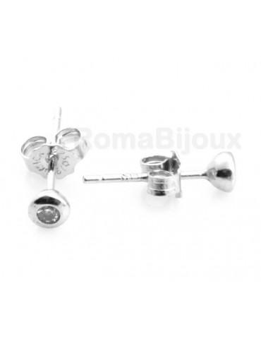 Argento 925 : orecchini donna uomo micro cipollina 2mm zirconi bianchi