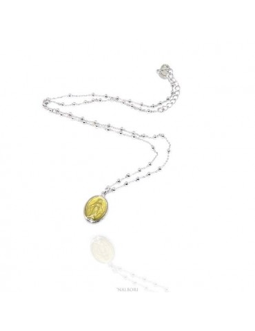 Collana Rosario uomo donna Argento 925 con medaglia smaltata madonna miracolosa giallino giallo oro