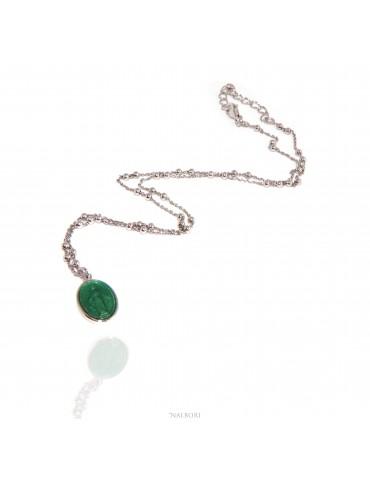Collana Rosario uomo donna Argento 925 con medaglia smaltata madonna miracolosa verde prato