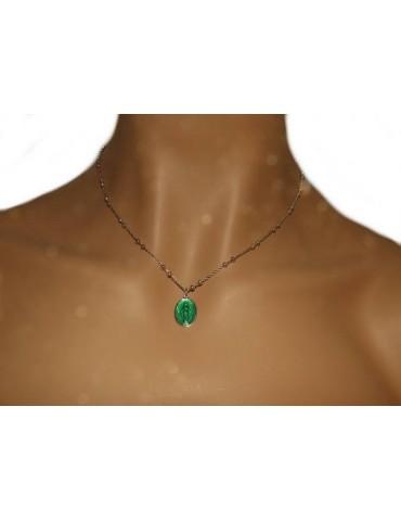 Collana Rosario uomo donna Argento 925 con medaglia smaltata madonna miracolosa verde acceso
