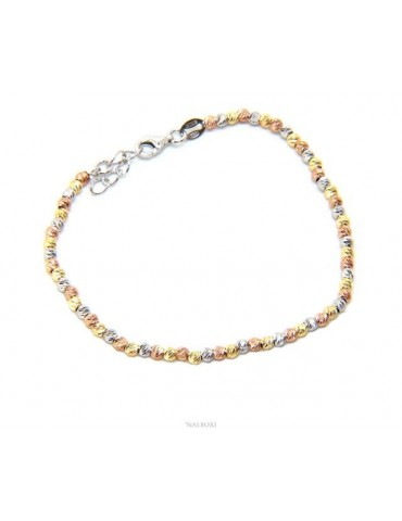 NALBORI 925 silver women's bracelet with 3mm diamond-shaped balls from 17 to 20 cm