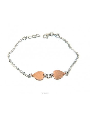 NALBORI® woman silver 925 bracelet with kissed pink hearts 17-19.50