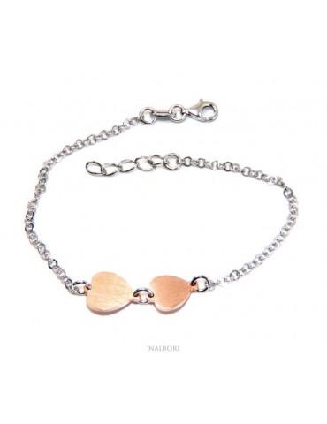 Bracciale Argento 925 donna NALBORI® con cuori rosa piccolo e grande 17-19,50