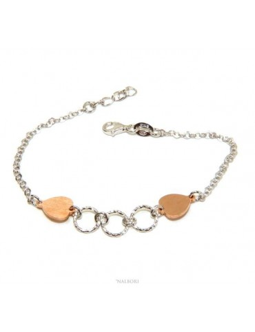 NALBORI® Women's Silver 925 Bracelet with Pink Hearts and Circles 16 -19