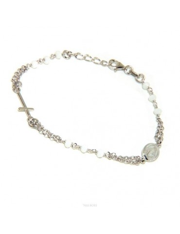Bracciale rosario uomo donna Argento 925 madonna miracolosa , croce piccola e cristallo bianco . Mis. 16,50 - 19,00 NALBORI