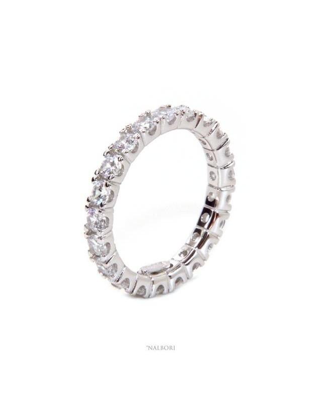 NALBORI argento 925 Rodiato, eternity infinity fede tutto giro zirconi bianchi brillante 3 mm per uomo o donna