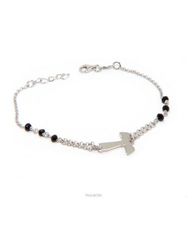 NALBORI Rosary bracelet Silver 925 with TAU cross and red crystal 15 17.5 cm