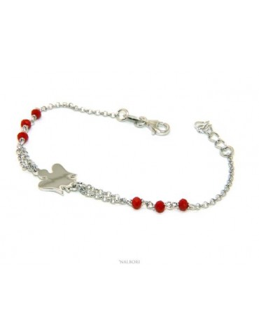 NALBORI Silver 925 rosary bracelet with small guardian angel and red or black crystal