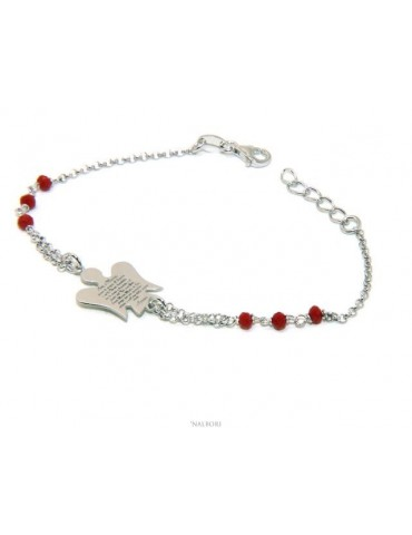NALBORI Rosary bracelet Silver 925 guardian angel prayer ave maria crystal red or black