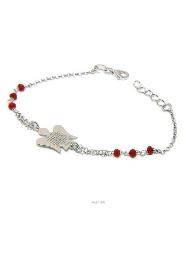 NALBORI Bracciale rosario Argento 925 angelo custode preghiera ave maria cristallo rosso o nero