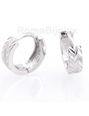 Silver 925/oo : earrings massive cliquet man or woman diamond faceted small 13 mm (one pair)