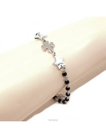 NALBORI Bracciale donna Argento 925 marsigliese nero quadrifoglio e stelle 16-19 cm fortuna