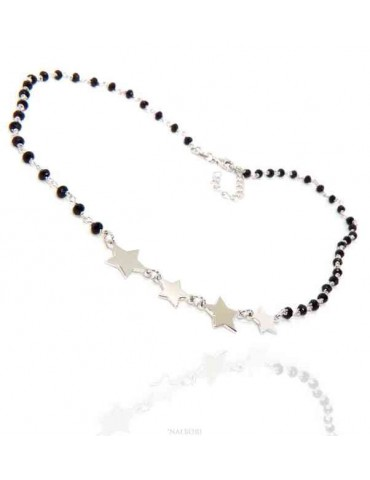 NALBORI collana donna Argento 925 marsigliese nero con 4 stelle