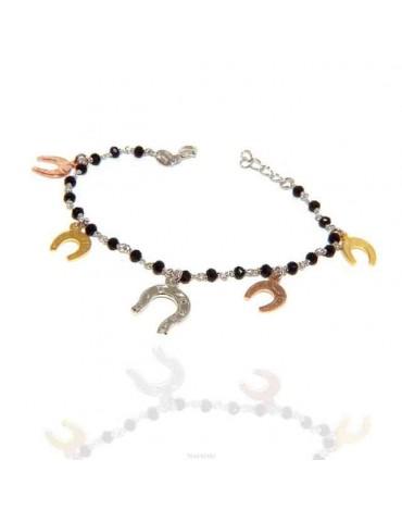 NALBORI Woman bracelet Silver 925 Marseille black with horseshoe pendants