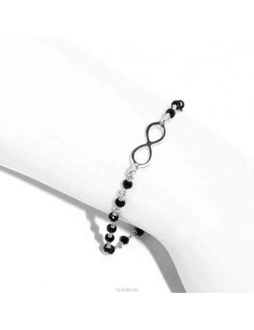 NALBORI marsigliesi, braccialetto Argento 925 cristallo nero con infinito
