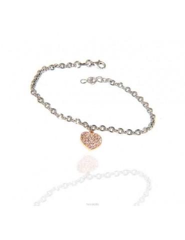 NALBORI Bracciale Argento 925 donna ragazza ciondolo cuore e zirconi bagno oro rosa