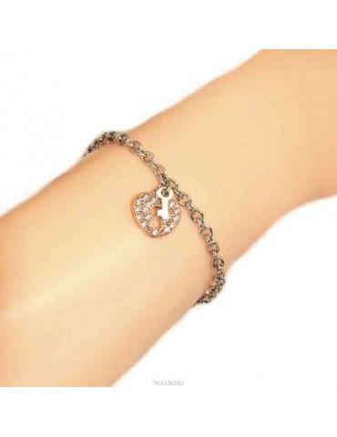 NALBORI Bracciale Argento 925 donna ragazza ciondolo cuore lucchetto e chiave zirconi in oro rosa