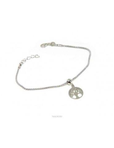 NALBORI Braccialetto argento 925 donna ragazza catena poocorn e ciondolo albero della vita