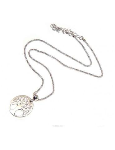 NALBORI collana Argento 925 girocollo popcorn con ciondolo medaglia albero della vita