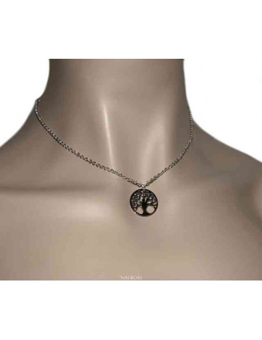 NALBORI collana Argento 925 girocollo rolo' diamantata con ciondolo medaglia albero della vita