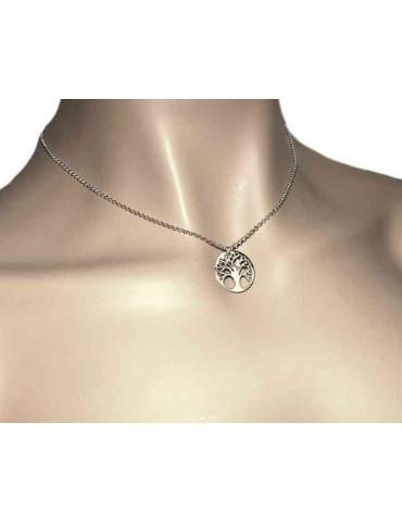 NALBORI collana Argento 925 girocollo rolo' con ciondolo medaglia albero della vita