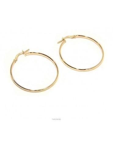 ORO 375/oo 9kt Orecchini NALBORI donna cerchi lisci boccole anelle 3 cm made in italy