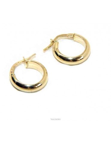 GOLD yellow 375 9kt: Woman earrings circles convex bushes 15 mm in italy