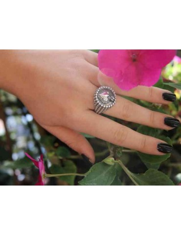 NALBORI Ring Silver 925 for man or woman with a shield of a sacred heart