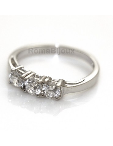 925 Rhodium: Trilogy with brilliant cut cubic zirconia 0.4