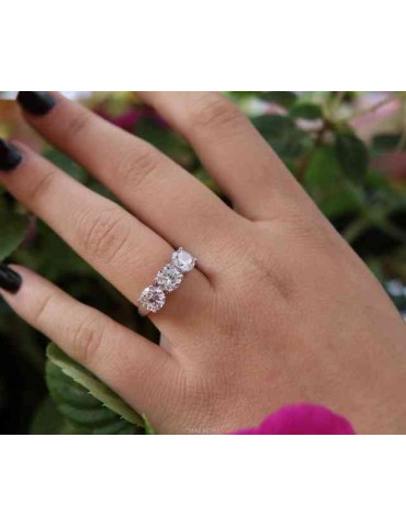 N9134195 anello donna trilogy argento 925 con zirconi bianchi da 0,6 taglio brillante
