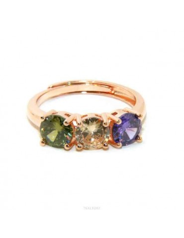 N56214V   anello donna regolabile trilogy zircone viola verde bianco da donna in argento 925 bagno oro rosa NALBORI