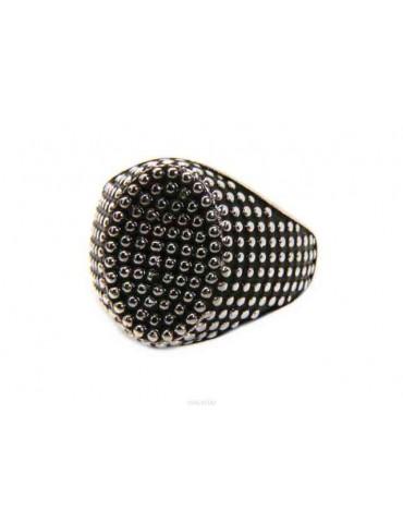 NALBORI anello chevalier con scudo ovale argento 925 da uomo pallinato
