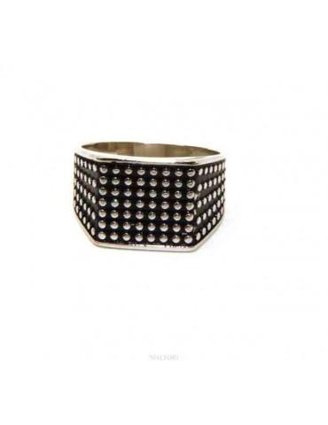 marca NALBORI anello chevalier con scudo quadrato argento 925 da uomo pallinato