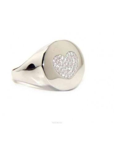 NALBORI anello chevalier cuore da donna in argento 925 zirconi bianchi