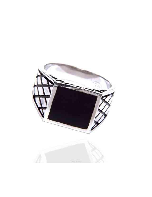Anello in argento 925 sigillo chevalier squadrato nero rombi