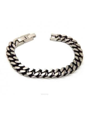 NALBORI Dark steel 10mm wide gourmette bracelet
